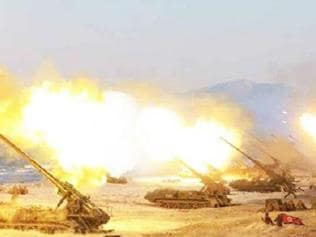 Footage of North Korea's biggest ever live firing drill. Picture: KCNA