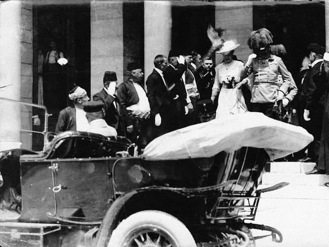 Killed ... a picture acquired from the Historical Archives of Sarajevo shows Archduke Franz Ferdinand and his wife Sophia as they leave Sarajevo City Hall to get into their car, minutes before their assassination.
