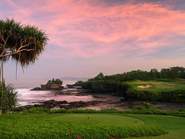 View from Nirwana Golf Club's spectacular 7th hole looking north towards Tanah Lot Temple.