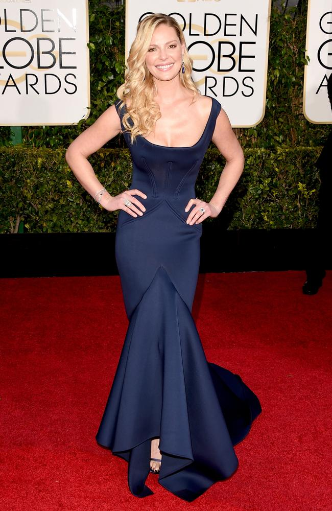 TV return ... actress Katherine Heigl in stunning navy. Picture: Getty Images