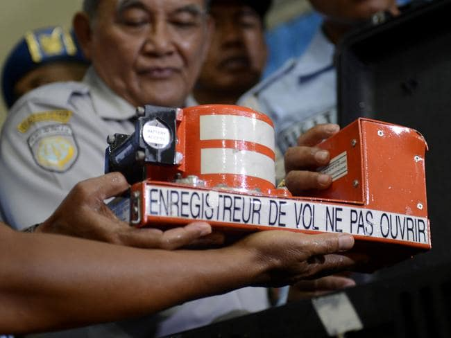 Found ... the newly recovered cockpit voice recorder from the ill-fated AirAsia Flight 8501. Picture: AP