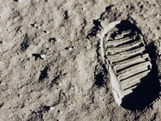 A close-up view of astronaut Buzz Aldrin's bootprint in the lunar soil, photographed with the 70mm lunar surface camera during Apollo 11's sojourn on the moon. Picture: NASA