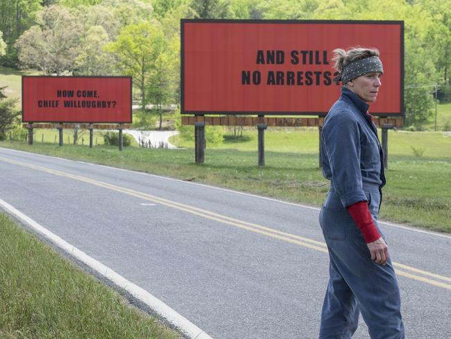 Frances McDormand is hot favourite to take out an Oscar for her performance in  <i>Three Billboards Outside Ebbing, Missouri</i>. Picture: Fox Searchlight via AP