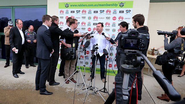 Soon to be new Canberra Raiders head coach Ricky Stuart holds his first press conference at Raiders headquarters in Canberra today. Picture: Ray Strange