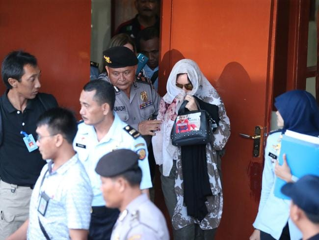 Schapelle Corby leaves the Prosecutors office in Denpasar. Picture: Nathan Edwards