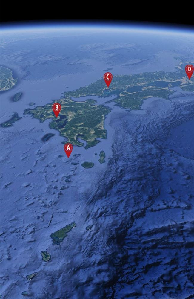 The location of the Kikai Caldera in relation to the main islands of southern Japan. Some 100 million people live within its fallout zone. A) Kikai Caldera. B) Nagasaki. C) Hiroshima. D) Osaka. Picture: Google Maps
