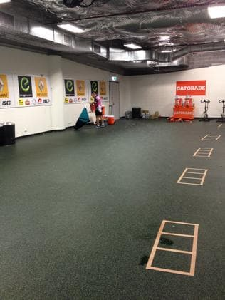 The warm-up area.