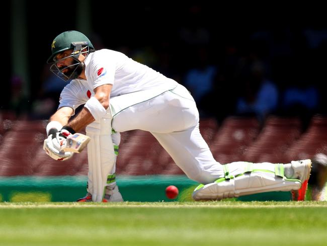 Pakistan's Misbah-ul-Haq sweeps against Australia.