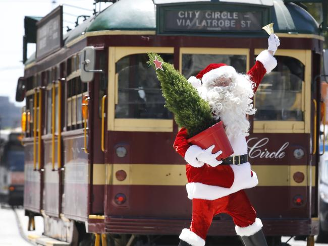 Santa is setting up in Fed Square. Picture: David Caird