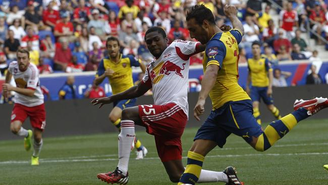 Santi Cazorla #19 of Arsenal fights for the ball with Chris Duvall #25 of New York Red Bulls.