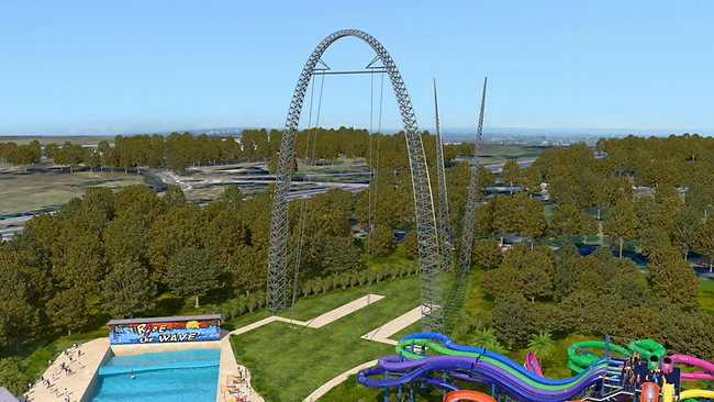 An artist's impression of Wet'n'Wild's Skycoaster.