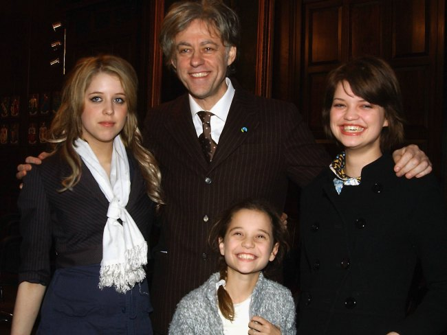 Bob Geldof with daughters Peaches, Pixie and Tiger Lily on March 5, 2006 in Dublin, Ireland. Photo: ShowBizIreland/Getty Images.