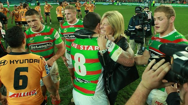 Mum Julie hugs Luke Burgess during the Wests Tigers v South Sydney Rabbitohs game at Allianz Stadium, Sydney. Picture: Evans Mark