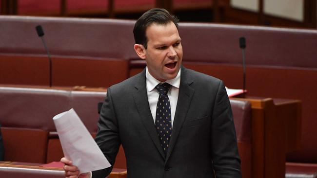 Senator Canavan during Question Time in the Senate. Picture: AAP