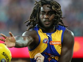 Nic Naitanui of the Eagles proves to strong for Jackson Trengove of the Power during the Round nine AFL match between the Port Adelaide Power and the West Coast Eagles at the Adelaide Oval in Adelaide, Saturday, May 21, 2016 (AAP Image/Ben Macmahon) NO ARCHIVING, EDITORIAL USE ONLY