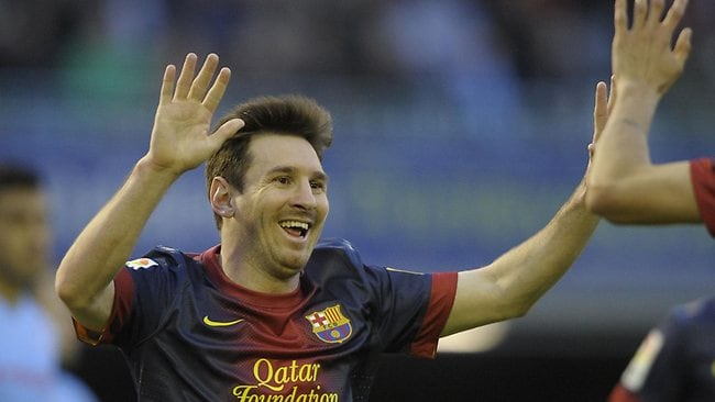Barcelona's Argentinian forward Lionel Messi celebrates after scoring during the Spanish league football match afainst RC Celta de Vigo at the Balaidos Stadium. Picture: Miguel Riopa