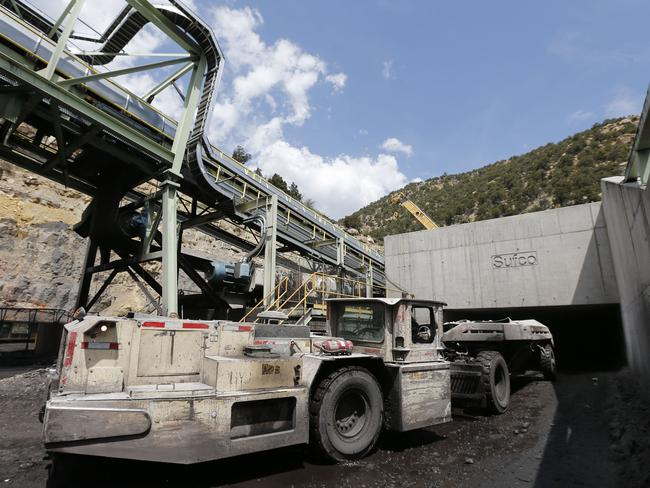 A mine tractor and trailer goes through the main entrance of the Sufco Coal Mine, 30 miles east of Salina, Utah.