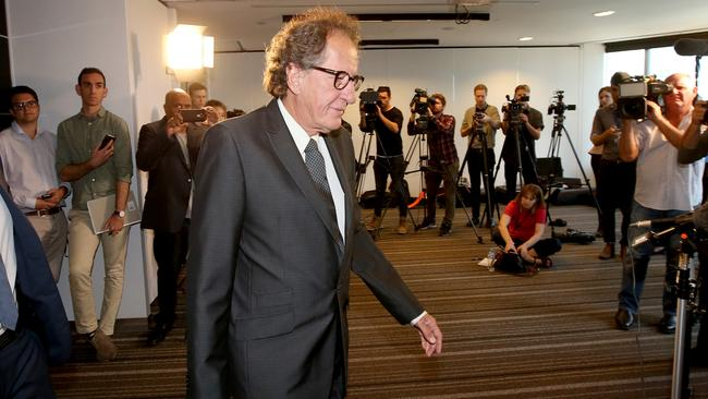 Actor Geoffrey Rush before speaking to the media today. Picture: Stuart McEvoy