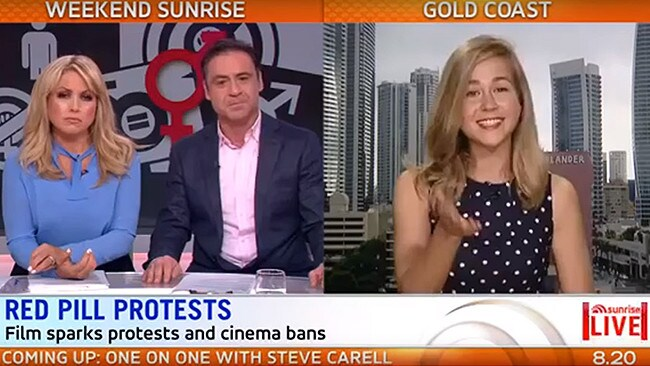Cassie Jaye (right) is interviewed on Channel 7's Weekend Sunrise.