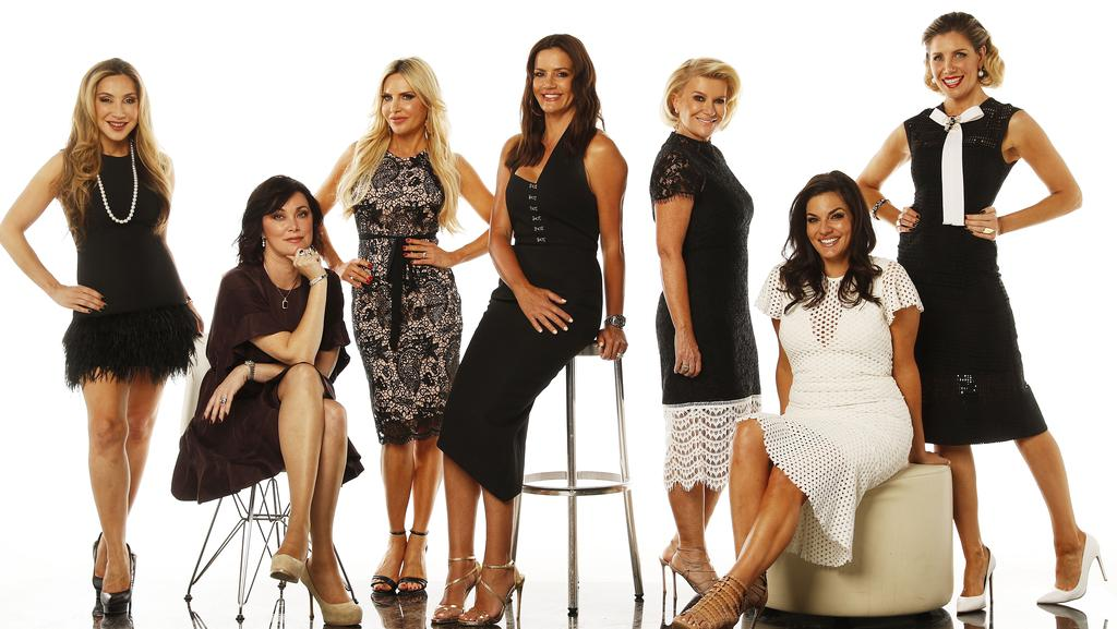 The Real Housewives of Sydney cast: From left, Marty Samaei, Lisa Oldfield, Melissa Tkautz, Krissy Marsh, Victoria Rees, Nicole O'Neil and Athena X Levendi.
