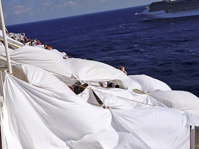 The makeshift tents on the the deck. Picture: AP/Kalin Hill