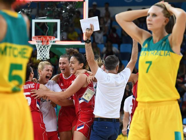 Penny Taylor in shock after the Opals' quarter-final loss to Serbia. Picture: Mark Ralston