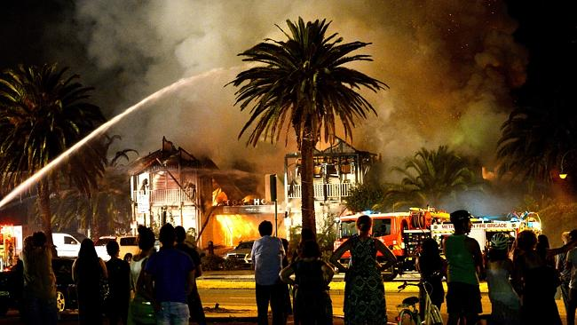 The St Kilda restaurant on fire. Picture: Mike Keating