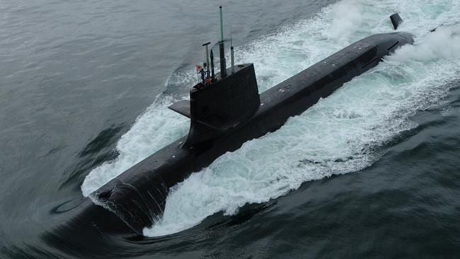 In action ... A Japanese Soryu Class submarine pictured at sea. Picture: Supplied