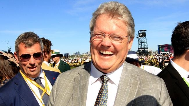 Anthony Cummings celebrates Fontelina's Yellowglen Stakes win last spring. Picture: Mark Evans