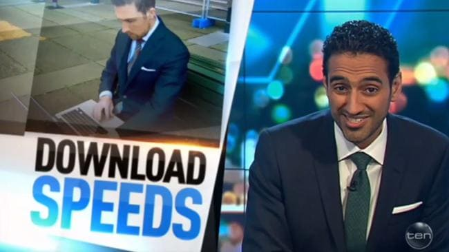 Waleed Aly blasts Malcolm Turnbull during a segment about the NBN. Picture: Channel 10