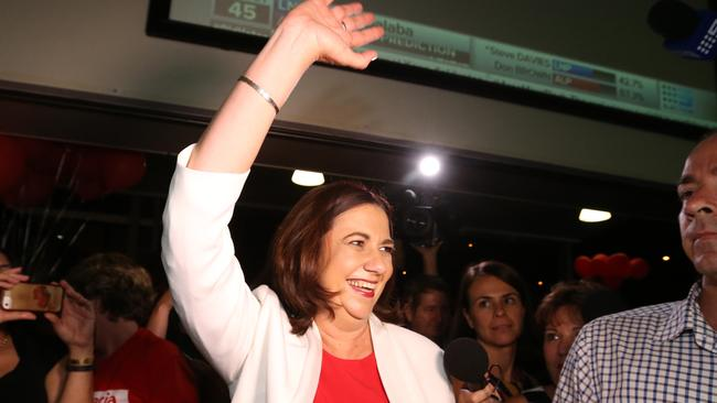 Queensland Labor leader Annastacia Palaszczuk after winning her seat yesterday in the Queensland election.