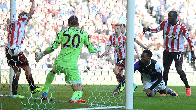 Daniel Sturridge opened the scoring after the ball appeared to go in off his elbow. Picture: Andrew Yates/AFP