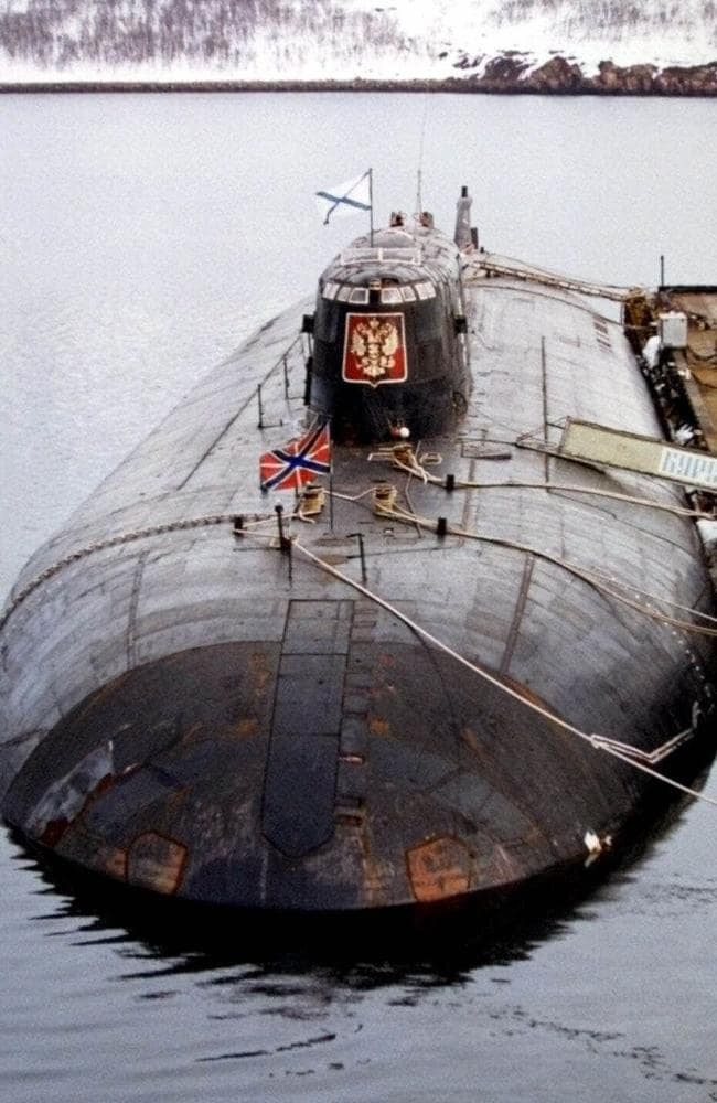 The submarine mystery has chilling echoes of the tragedy in which 118 died on board the Russian nuclear submarine Kursk in August 2000. Picture: AP Photo/File