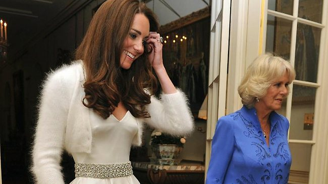 Quick change: Kate leaves for the wedding dinner with Camilla, the Duchess of Cornwall. Picture: AP