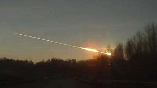 Fly past ... the meteorite soars across the sky before crashing to ground.