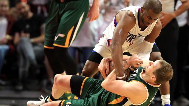 You get the feeling Chris Paul isn't Ingles' favourite bloke. Picture: Getty Images/AFP