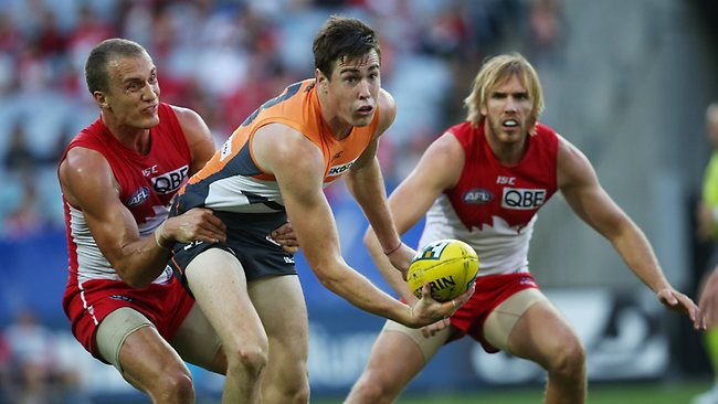 AFL - Sydney Swans v GWS Giants at ANZ Stadium. The Giants Jeremy Cameron handballs ahead of Ted Richards and Lewis Roberts-Thompson. Picture: Phil Hillyard