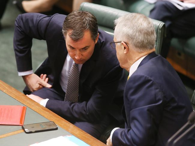 Justice Minister Michael Keenan and Prime Minister Malcolm Turnbull have confirmed they won't water down gun laws during Question Time. Picture: Kym Smith