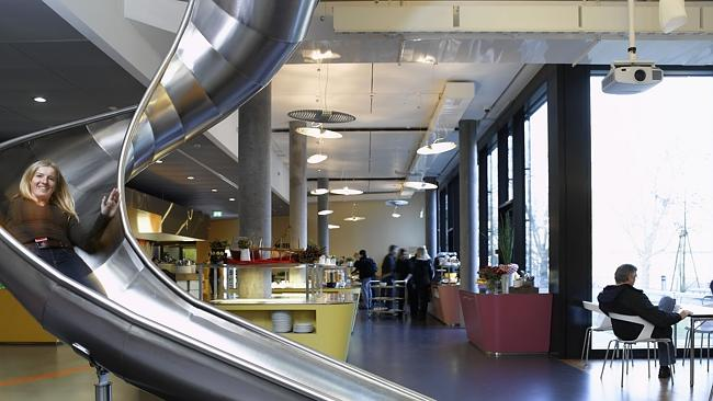 Wheee! Google's Zurich office has a slide. Yep.