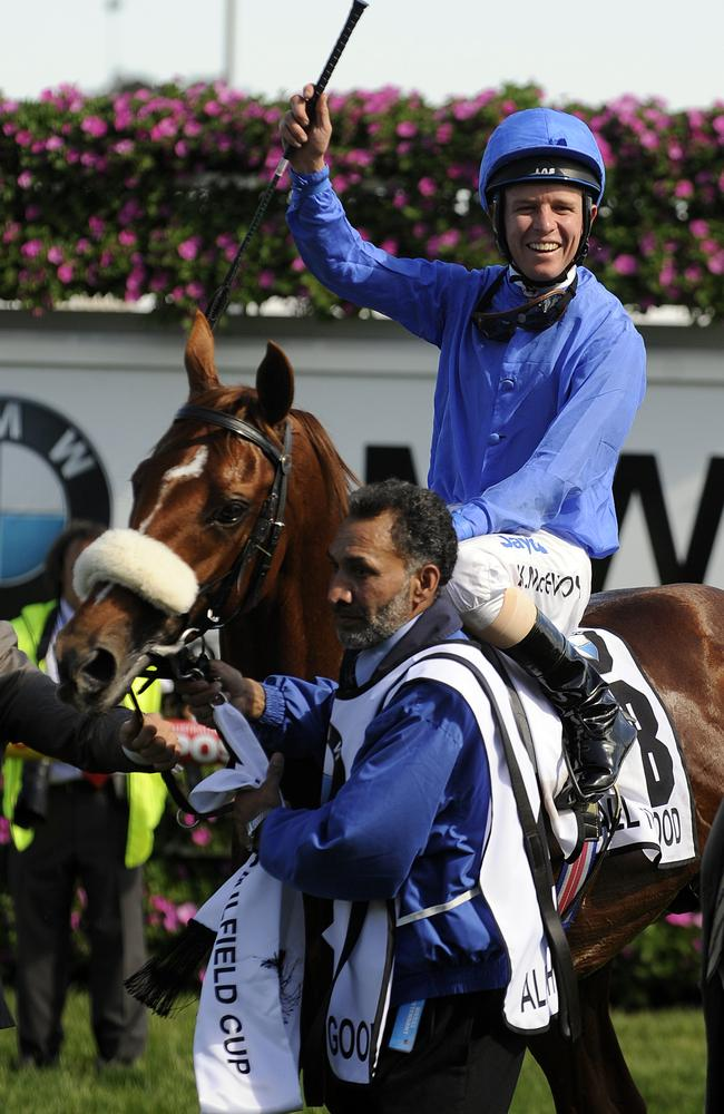 Kerrin McEvoy returns to scale after winning the Caulfield Cup on All The Good.