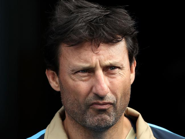 SYDNEY, AUSTRALIA - JUNE 20:  Blues coach Laurie Daley walks out onto the field during a New South Wales Blues State of Origin captain's run at ANZ Stadium on June 20, 2017 in Sydney, Australia.  (Photo by Mark Kolbe/Getty Images)