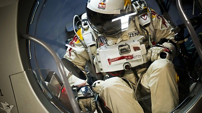 Pilot Felix Baumgartner of Austria seen during the first manned test flight for Red Bull Stratos in Roswell, New Mexico, USA on February 23 2012. Photo: Red Bull
