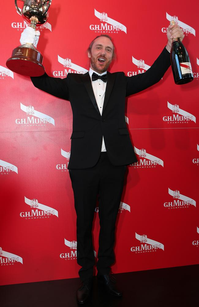 David Guetta celebrates at the G.H. Mumm marquee. Picture: Julie Kiriacoudis
