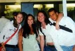 2004: Schapelle Leigh Corby, her brother James and two girlfriend at Brisbane airport after checking in for their flight to Bali in October