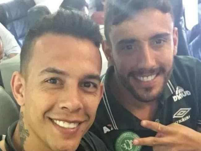 Alan Ruschel Snapchatted this image with Marcos Danilo before takeoff. Picture: Snapchat