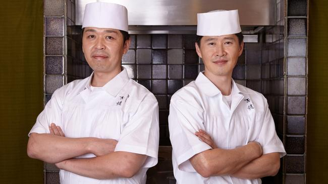Chef Kakinuma (pictured with chef Miyakawa) will cater to your every sushi whim and desire. Picture: Supplied