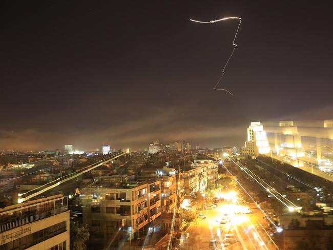 Damascus is seen as the US launches an attack on Syria targeting different parts of the capital. Picture: AP