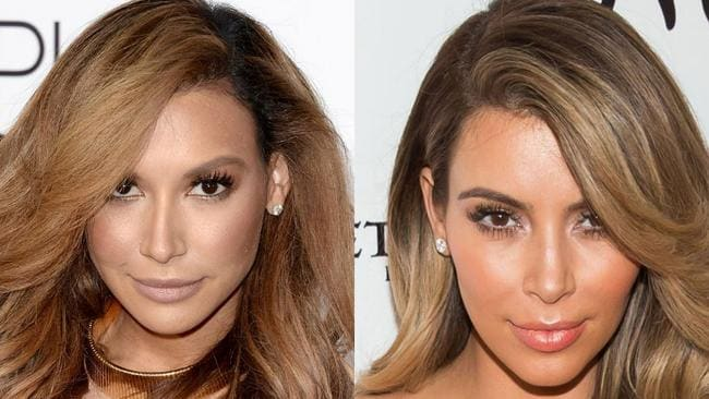 Not to let any fellow famous people off the hook. Glee star Naya Rivera, left, definitely looks as though she's modelled herself off Kim's look. Picture: Getty Images