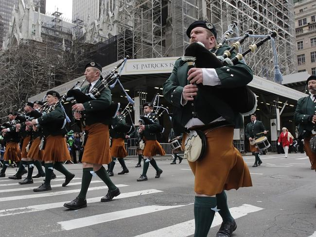 """Historic dress ... law enforcement authorities said members of a St Patricks Day flashmob beaten by thugs were wearing kilts """"and their opponents mistook them for representatives of non-traditional sexual orientation"""". Picture: Mark Lennihan"""