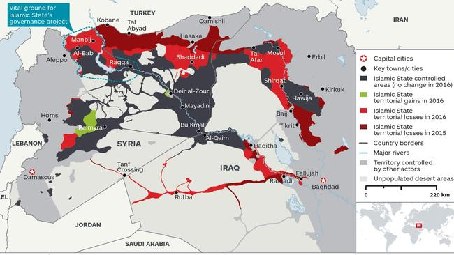 Islamic State territorial losses between January 2015 and December 2016. Source: IHS Monitor